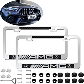 2pcs Newst AMG Logo Silver Stainless Steel License Plate Frame with Carbon Fiber Gloss Finish,with Screw Caps Cover Set Suit,Applicable to US Standard car License Frame for Mercedes-Benz.