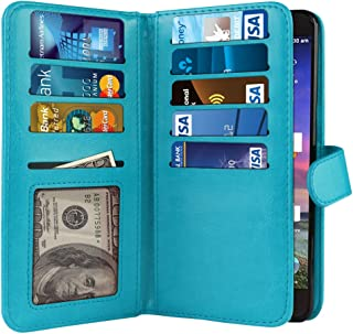 NEXTKIN Grand X 3 Case, Leather Dual Wallet Folio TPU Cover, 2 Large Pockets Double flap Privacy, Multi Card Slots Snap Button Strap For ZTE Grand X 3 X 3 Z959 Warp 7 N9519 - New Teal