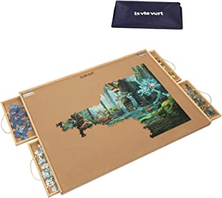 Lavievert Jigsaw Puzzle Table Puzzle Plateau Puzzle Board with Four Sliding Drawers, Dustproof Cover & Puzzle Mat Set for ...