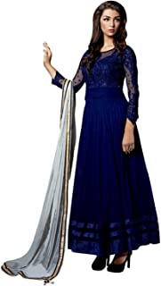 FENNY CREATION Women's Net Embroidered Semi Stitched Salwar suit with dupatta(Blue)