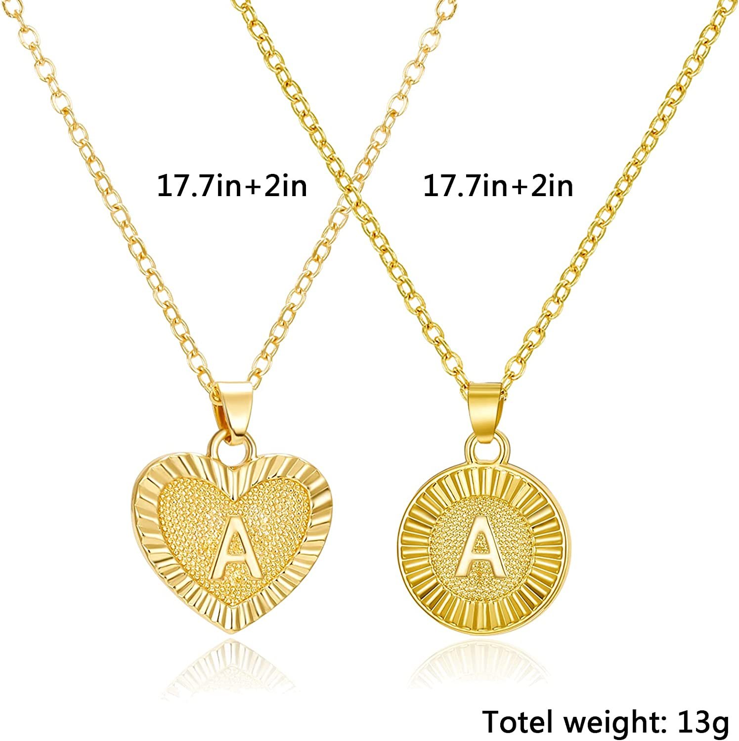 Heart & Round Initial Necklaces 14K Gold Plated Letter Necklace A-Z Layered Gold Chain Necklace Pendant Choker Necklaces for Women Girls