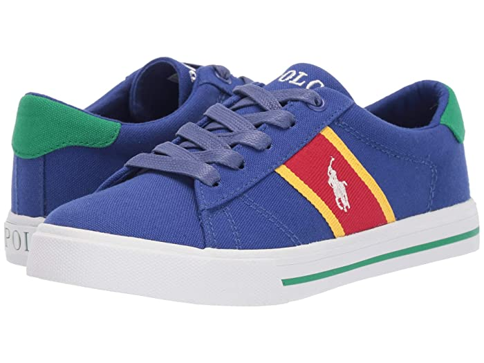 Polo Ralph Lauren Kids  Geoff (Little Kid) (Royal Canvas/YellowithRed/Paperwhite Pony) Boys Shoes
