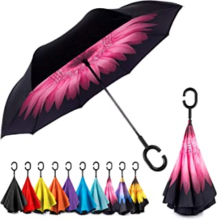 Reverse Inverted Windproof Umbrella - Upside Down Umbrellas with C-Shaped Handle for Women and Men - Double Layer Inside Out Folding Umbrella