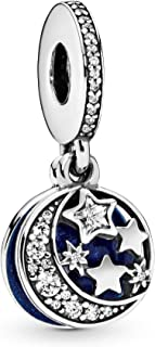 Pandora Jewelry Moon and Night Sky Cubic Zirconia Dangle Charm in Sterling Silver