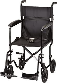 NOVA Medical Products Steel Transport Chair, Black, 19 Inch, 23 Pound