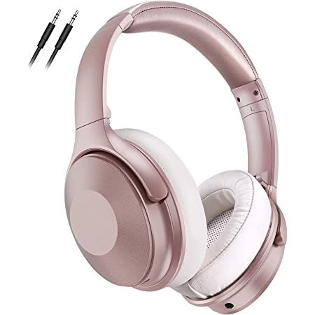 Pink Noise Cancelling Bluetooth Headphones, 45Hrs Headphones Over Ear with Microphone, BT 5.0, Fast Charge, Deep Bass, Wired Wireless Headset for Girls, Boys, Women, Online Class, Home Office