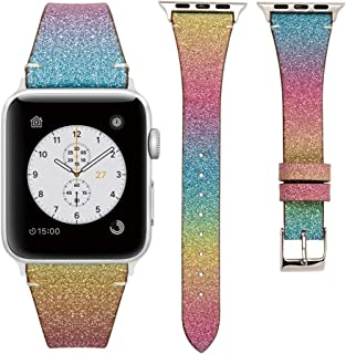 MEFEO Sparkly Bands Compatible for Apple Watch Band 38mm 40mm 42mm 44mm, Slim Glitter Leather iWatch Bands Women Strap Wristband Replacement for iWatch Series 5/4/3/2/1
