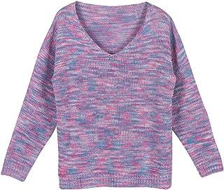 Suéteres de Camuflaje para Mujer Jerséis con Cuello en V, Tejido Suelto cálido Anti-Pilling Jersey Suave Blusa de Manga La...