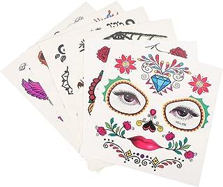 Beaupretty 8 stuks tattoostickers, Halloween, gezicht, bloemen, tattoostickers, tijdelijke tattoostickers, halloween, rekw...