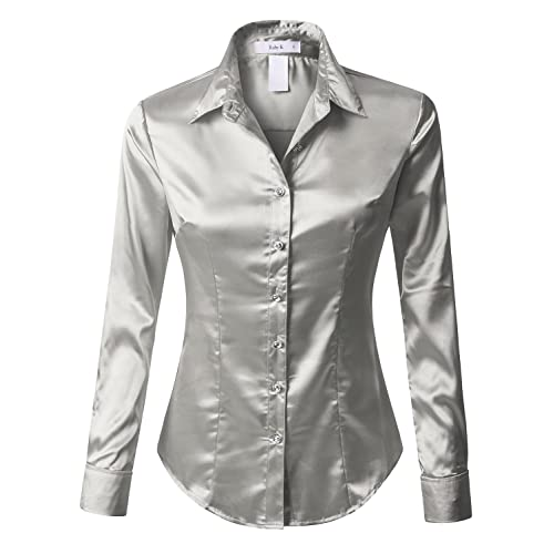 78254c775d8d01 RK RUBY KARAT Womens Satin Silk Work Button Down Blouse Shirt with Cuffs