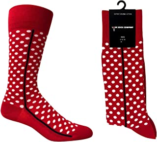 red socks with white polka dots
