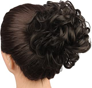 WeKen Women's Hair Bun Messy Curly 2 Clips in Short Hair Synthetic Natural Black #2