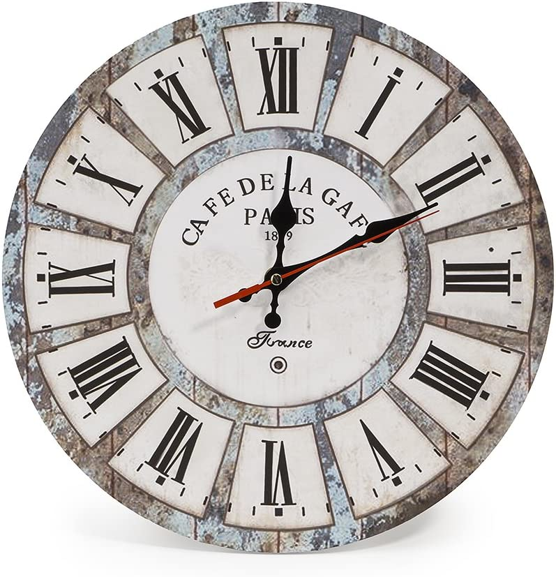 LOHAS Home 30 cm Reloj de Pared de Cuarzo Estilo Toscano Vintage Francesa Paris Reloj de Madera (vacaciones romanas)