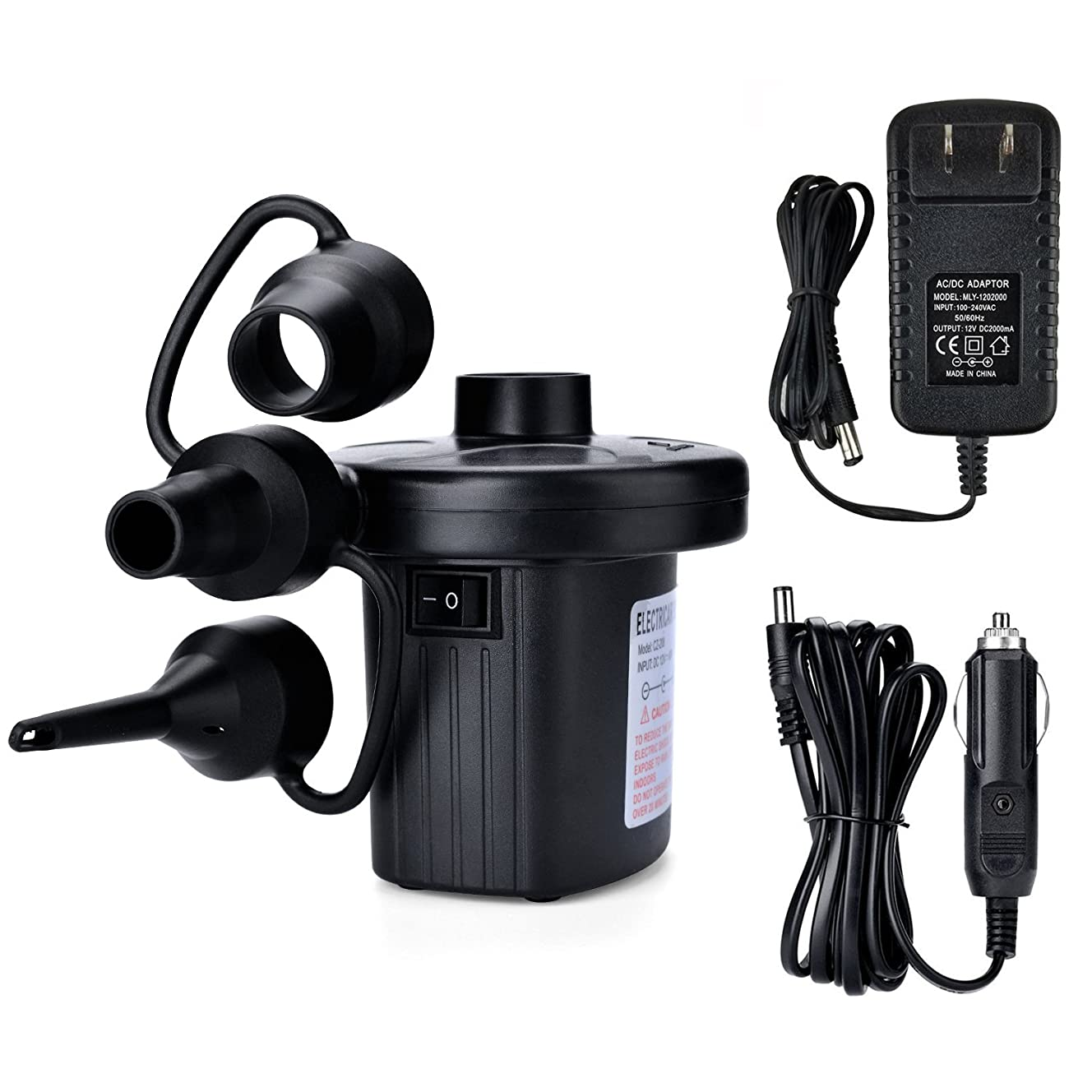 Electric Air Pump, AGPtEK Portable Quick-Fill Air Pump with 3 Nozzles, 110V AC/12V DC, Perfect Inflator/Deflator Pumps for Outdoor Camping, Inflatable Cushions, Air Mattress Beds, Boats, Swimming Ring bvj1946169