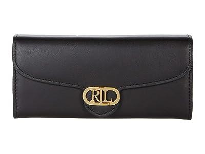 LAUREN Ralph Lauren Leather Continental Wallet (Black) Handbags