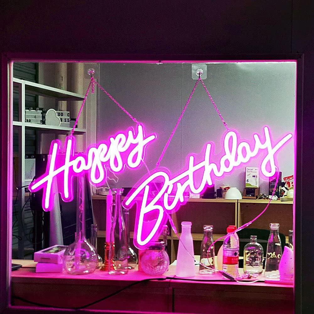 Deco Custom Neon Sign 30 Fees free Popular standard x Happy Transp inches 22 Birthday