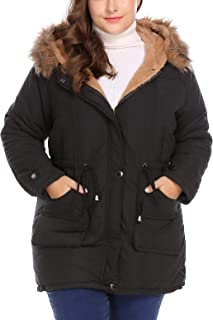 IN'VOLAND Womens Plus Size Hooded Winter Coats Anroaks Parka Coats Fleece Outwear Jacket