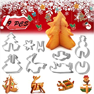 Christmas Cookie Cutters 3 Inches 9 PCS – 3D Cookie Cutters, Winter Christmas Cookie Cutter, Holiday Cookie Cutter, Stainless Steel Baking Shape Molds for Christmas Theme Party