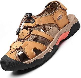 Rokiemen Sandales de Randonnée Homme Été Extérieur Cuir des Sandales Chaussures de Plage Sport Trekking Marche Respirant C...