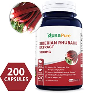 Siberian Rhubarb Extract 1000mg 200 Capsules (Non-GMO & Gluten Free) Weight Loss Aid - Promotes Digestive Health - Powerful Antioxidant