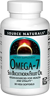 Source Naturals Omega-7 Sea Buckthorn Fruit Oil - Non-GMO, Vegan-Sourced - 30 Softgels