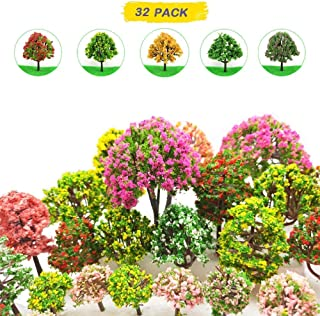 MOMOONNON 32 Pieces Model Trees 3.5cm - 10cm Mixed Model Tree Train Scenery Architecture Trees Fake Trees for DIY Crafts, Building Model, Scenery Landscape Natural Green