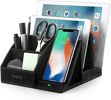 EasyAcc Wireless Charger Desk Organizer USB Charging Station, Multi-Device iPhone iPad Tablet Charging Station Dock Stand, Induction Charger for iPhone 11 Pro X XS MAX XR 8, Samsung S10 S10e S9