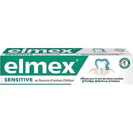 ELMEX - Dentifrice Elmex Sensitive - Pour Dents Sensibles - Effet Cliniquement Prouvé - Formule au Flurorure d'amines - 75 ml