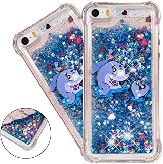HMTECHUS iPhone 5 case SE case for Girls 3D Cute Painted Glitter Liquid Sparkle Floating Luxury Quicksand Shockproof?Protective Diamond Silicone Slim Cover for iPhone 5S -Bilng Blue Dolphin YB