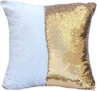 "Best URSKYTOUS Reversible Sequin Pillow Case Decorative Mermaid Pillow Cover Color Changing Cushion Throw Pillowcase 16"" x 16"",White and Gold Review"