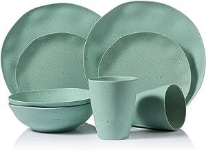 Dinnerware Set, Morgiana 8-Pieces Reusable Bamboo Tableware Set Eco-Friendly Bamboo Fiber Plates, Cups, Bowls, Service for...