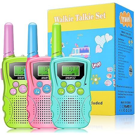 WANFEI Walkie Talkie Kinder 3er Set, VOX Walkie Talkies mit 3KM Reichweite und 8 Kanäle , Eingebaute Taschenlampe und 3 Schlüsselbänder, für Freien, Camping, Wandern 3-12 Jahren Junge Mädchen Geschenk