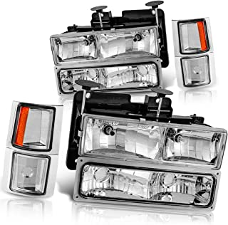 Headlight Assembly for Chevy C/K Series 1500 2500 3500 / Tahoe/Suburban/Silverado Crystal Headlamp w/Corner & Bumper Chrome Housing with Clear Lens(Chrome)