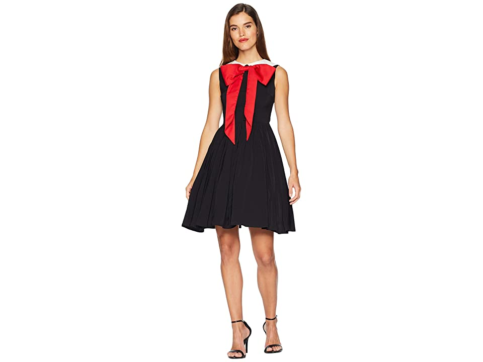 Unique Vintage 1960s Style Large Bow Tie Marin Flare Dress (Black/White/Red) Women