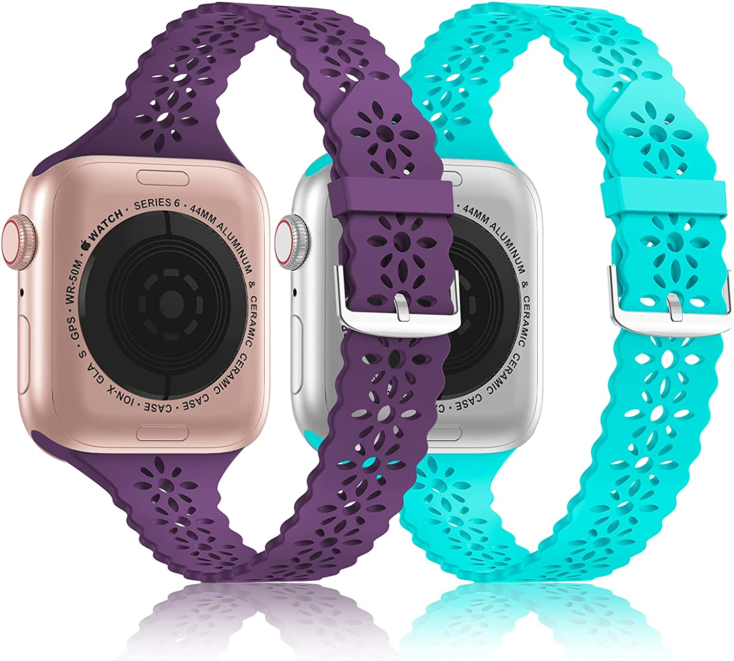 Quantity limited Seizehe 2 Pack Great interest Lace Slim Silicone With Bands Compatible Wa Apple