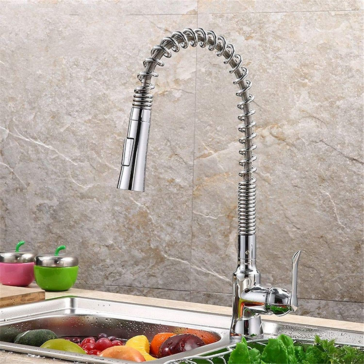 YAWEDA Kitchen Faucet with Three Sink Faucet Nickel Wire Drawing Chrome Plating Kitchen Faucet Spring Pulling Dual Hot and Cold Mixer Faucet