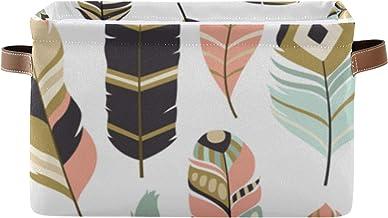 ALALAL Boîte de Rangement rectangulaire Belles Plumes Plumes de Poulet Plumes de Perroquet Boîtes de Rangement décoratives...