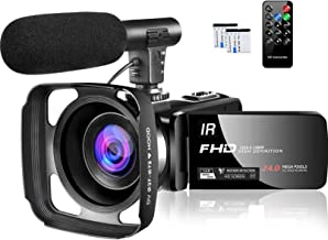 Video Camera 1080P Camcorder Full HD 30FPS 24MP Vlogging Camera for YouTube IR Night Vision 16X Digital Zoom Time Lapse We...