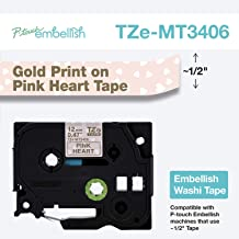 Brother P-Touch Embellish Gold Print on Pink Hearts Washi TZeMT3406 Matte Tape,
