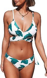 Women's Fresh Leaves Printing Cross Padding Bikini Set