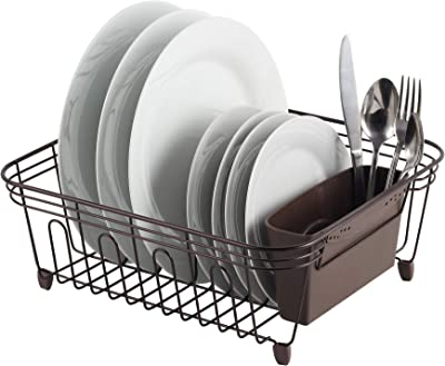 REAL HOME Innovations Deluxe Small Dish Drainer, Oil Bronze