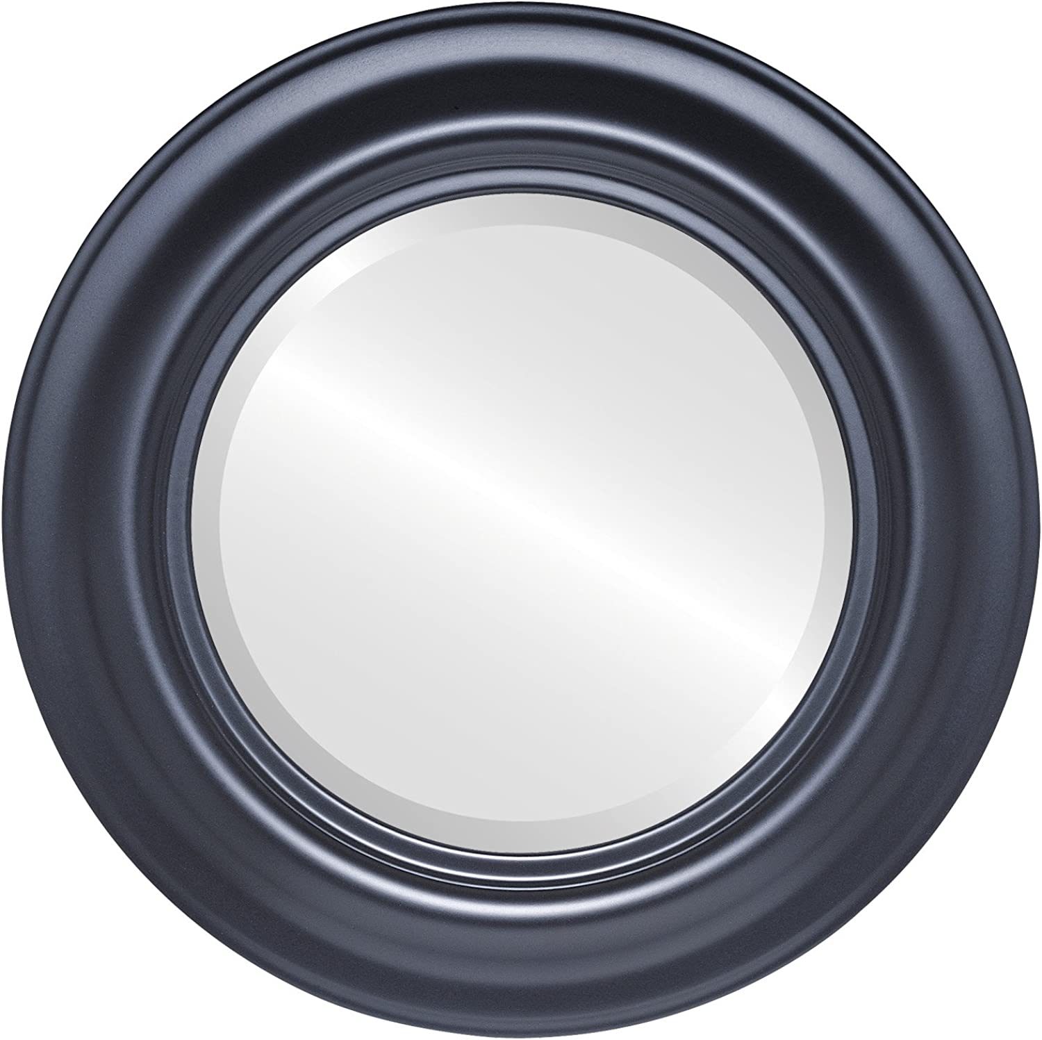 OvalAndRoundMirrors  Round Beveled Mirror in a Lancaster style Matte Black frame with 19x19 outside dimensions