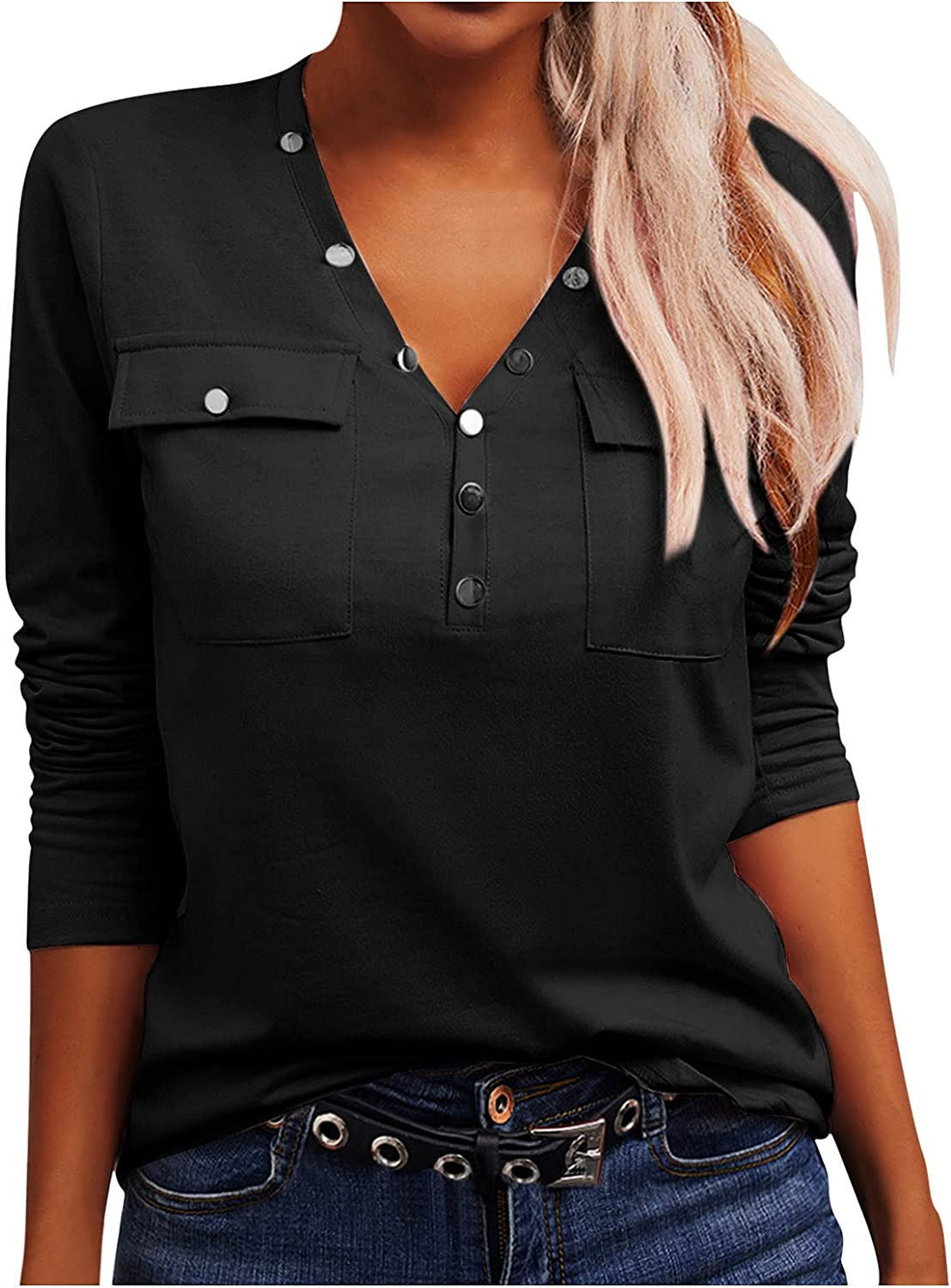Womens Tops Button Down V Neck Solid Color Long Sleeve Ladies Office Daily Pullover Autumn Blouses with Pocket