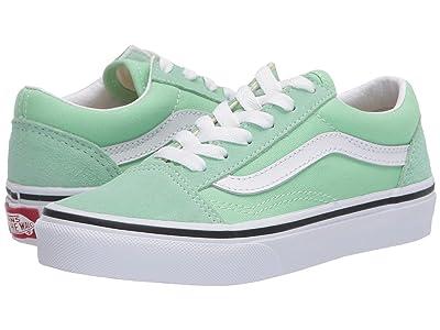 Vans Kids Old Skool (Little Kid) (Green Ash/True White) Girls Shoes