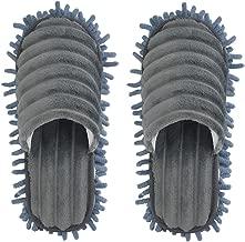 Microfiber Slippers Floor Cleaning Mop Men and Women House Dusting Slippers Floor Dust Dirt Cleaning Slipper (Blue-grey, Women11-13/Men 9-11)