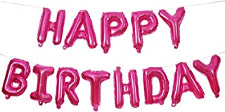Happy Birthday Balloons Banner,16 Inch Hot Pink Aluminum Foil Banner Letter Balloons for Birthday Party Decorations and Su...