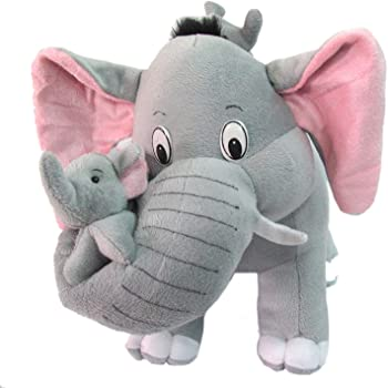 "RVA Grey Mother Elephant with Two Baby Stuffed Soft Plush Toy (40 CM/15"")"