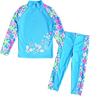 Girls Swimsuit Two Piece Tankini UPF 50+ UV Protective Rash Guard Set 3-12 Years