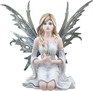 "Ebros Large Winter Solstice Purity Fairy With Crystal Sphere Statue 11.75"" Tall Goddess Deity Frost White Witch Fairy Home Decor Figurine"