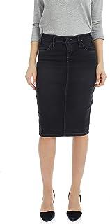 ESTEEZ Women's Denim Pencil Skirt - Powerstretch Jean with Tummy Control - Miami